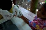 A Burmese Rohingya girl gives a blood sample to test for malaria at a special clinic in Rakhine state on May 4, 2009.