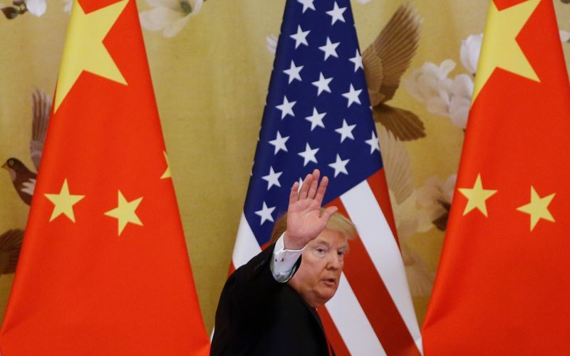 U.S. President Donald Trump and China's President Xi Jinping (not shown) make a joint statement at the Great Hall of the People on November 9, 2017 in Beijing,