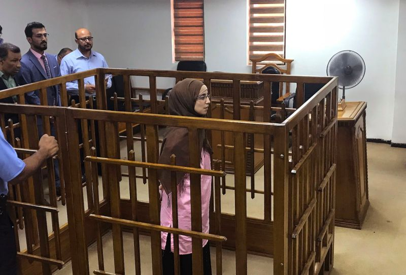 A French woman, Djamila Boutoutaou, attends her trial at the Central Criminal Court in Baghdad on April 17, 2018. She was sentenced to life in prison for belonging to the Islamic State.