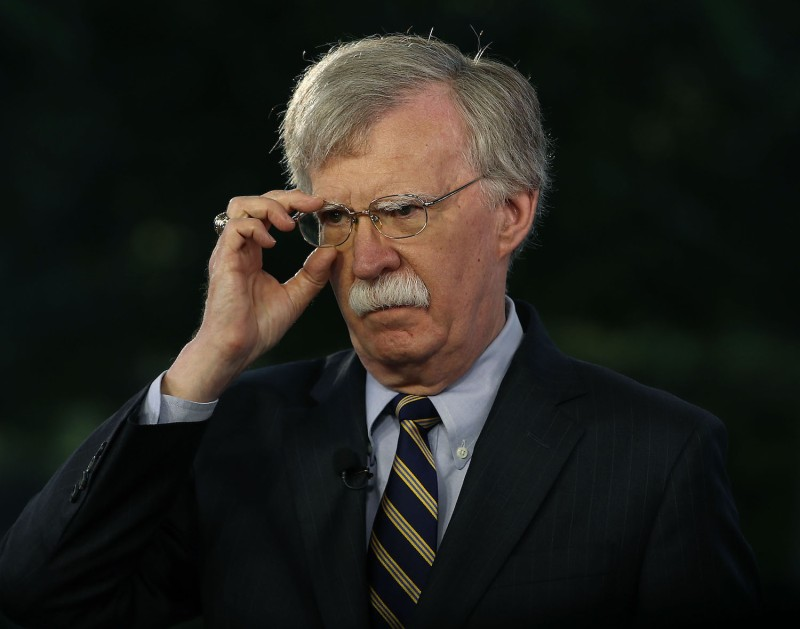 U.S. National Security Advisor John Bolton speaks on a morning TV show from the grounds of the White House in Washington on May 9, 2018.