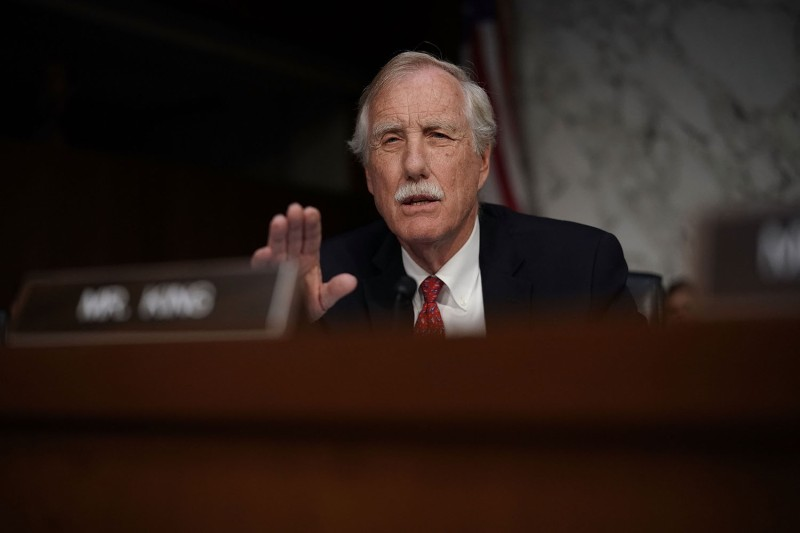U.S. Sen. Angus King speaks during a confirmation hearing for CIA director nominee Gina Haspel before the Senate Intelligence Committee in Washington on May 9, 2018.