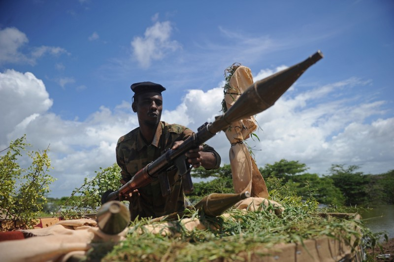A Somali soldier at Sanguuni military base south of Mogadishu on June 13, 2018.