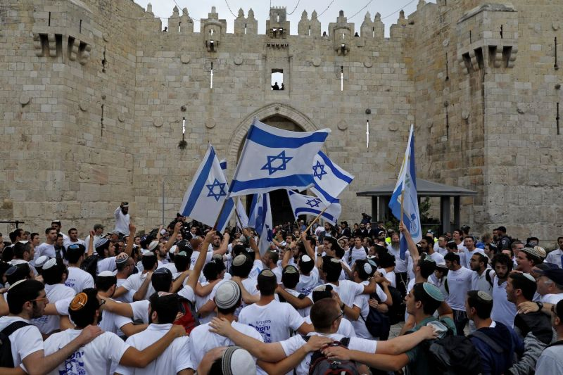 Israelis celebrate Jerusalem Day in Jeruslam's Old City on May 13, 2018.