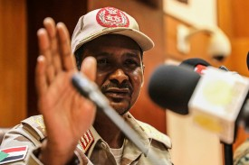 "Gen. Mohamed Hamdan ""Hemeti"" Dagalo, the deputy head of Sudan's military council, speaks at a news conference in Khartoum on April 30."