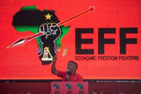 Economic Freedom Fighters (EFF) leader Julius Malema addresses the crowd during the final EFF presidential election campaign rally at Orlando Stadium in Johannesburg, on May 5.