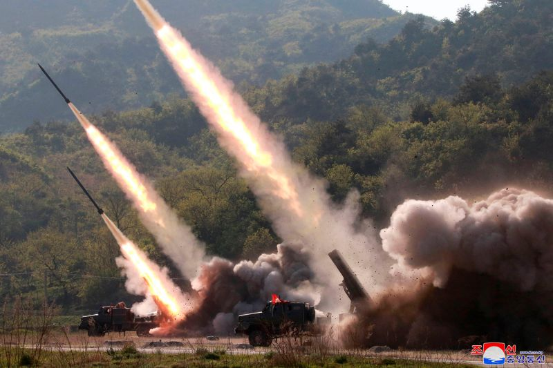 North Korea appears to test its military weapon systems, firing two suspected short-range missiles toward the sea, on May 9 according to South Korean officials, in this image distributed by the North Korean government.