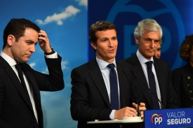 Spanish conservative People's Party leader  Pablo Casado (C), secretary general Teodoro García Egea (L), and the party's number two candidate Adolfo Suárez Illana (R) attend an election night gathering in Madrid after Spain held general elections on Apr. 28.
