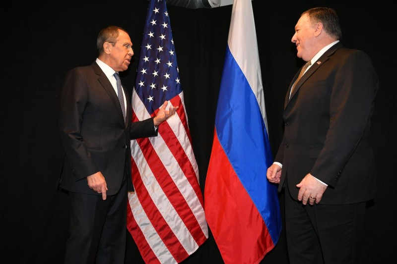 U.S. Secretary of State Mike Pompeo, right, talks with Russia's Foreign Minister Sergei Lavrov as they meet on the sidelines of the Arctic Council Ministerial Meeting in Rovaniemi, Finland, on May 6.