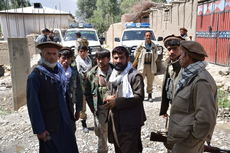 Members of Warduj's Afghan Local Police unit in front of their main base in their exile in Bahorak on Aug. 24, 2018.