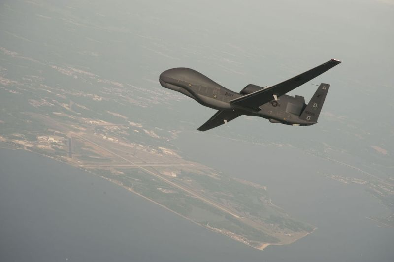 A U.S. Navy RQ-4 Global Hawk drone, an example of which is seen here on June 11, 2012, was shot down by Iranian IRGC surface-to-air missiles near the Strait of Hormuz.