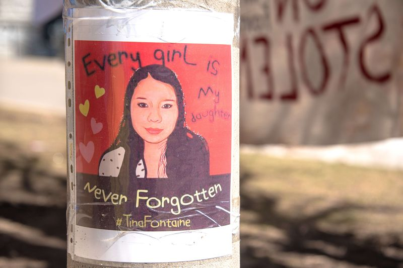 A sign at a Canadian First Nations protest in Toronto references the high number of missing and murdered indigenous women of Canada on April 21, 2018.