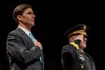 Army Secretary Mark Esper (left) attends an Army Full Honors Arrival Ceremony at Joint Base Myer-Henderson Hall, in Arlington, Virginia, on Jan. 5, 2018.