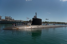 The Virginia-class fast-attack submarine USS Hawaii prepared to moor at the historic submarine piers at Joint Base Pearl Harbor-Hickam on June 6. Each Virginia-class submarine uses nearly five tons of rare-earth materials.
