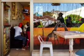 The African Gold restaurant outside North Nicosia serves as a meeting point for the large foreign student body from Nigeria, Cameroon, and Zimbabwe.