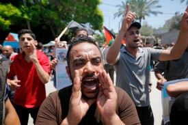 Palestinians in Gaza City protest against the U.S.-sponsored Middle East economic conference in Bahrain on June 26.