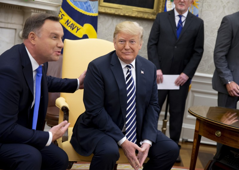 U.S. President Donald Trump and Polish President Andrzej Duda speak with the media at the Oval Office in Washington, D.C., on Sept. 18, 2018.