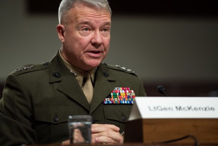 Then-Marine Corps Lt. Gen. Kenneth McKenzie, nominee to be general and commander of the U.S. Central Command, testifies during a Senate Armed Service Committee confirmation hearing on Capitol Hill in Washington on Dec. 4, 2018.