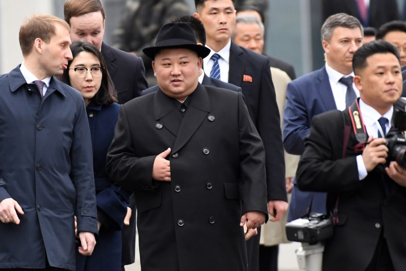 North Korean leader Kim Jong Un arrives at the railway station in Vladivostok, Russia, on April 24.