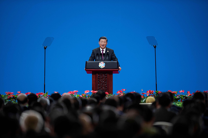 Chinese President Xi Jinping delivers a speech in Beijing on May 15.