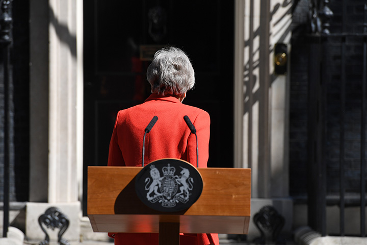 Prime Minister Theresa May makes a statement outside 10 Downing Street on May 24 in London.