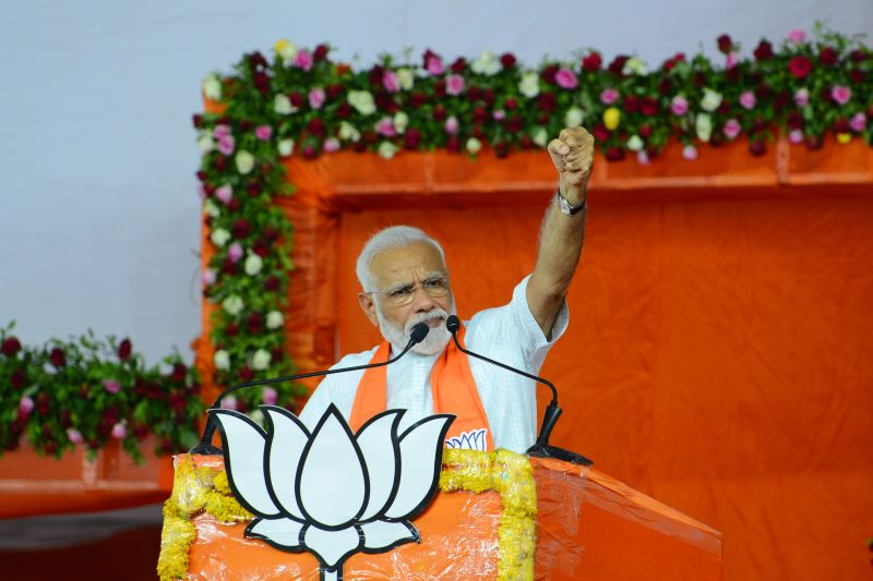 Indian Prime Minister Narendra Modi gestures during a rally in Ahmedabad on May 26.