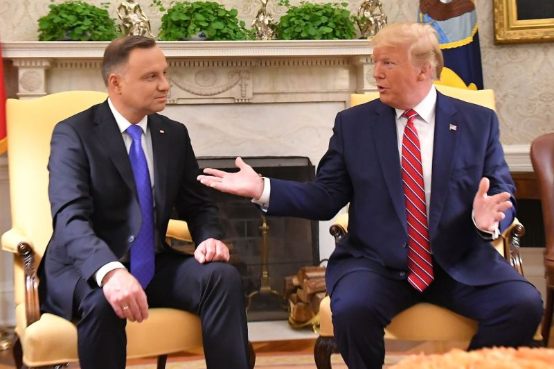U.S. President Donald Trump and Poland's President Andrzej Duda meet in the Oval Office of the White House in Washington on June 12.