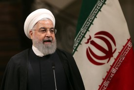 Iranian President Hassan Rouhani gives a press conference in Tehran on June 12.