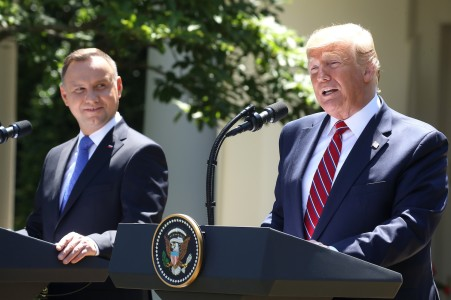 U.S. President Donald Trump and Polish President Andrzej Duda speak to the media during a news conference in the Rose Garden at the White House on June 12.