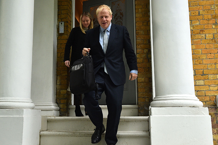 Conservative MP Boris Johnson leaves his home in London on June 13.