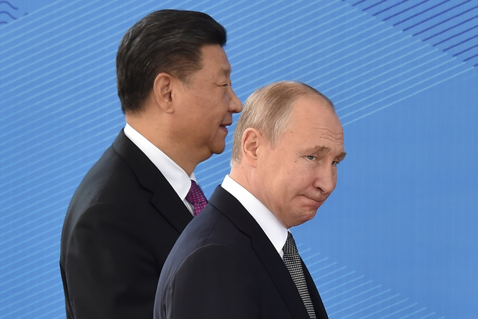 Russian President Vladimir Putin and Chinese President Xi Jinping attend a meeting of the Shanghai Cooperation Organisation Council of Heads of State in Bishkek, Kyrgyzstan, on June 14. VYACHESLAV OSELEDKO/AFP/Getty Images
