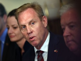 Acting U.S. Secretary of Defense Patrick Shanahan speaks during his meeting with his Portuguese counterpart, João Gomes Cravinho, at the Pentagon in Washington on June 14.