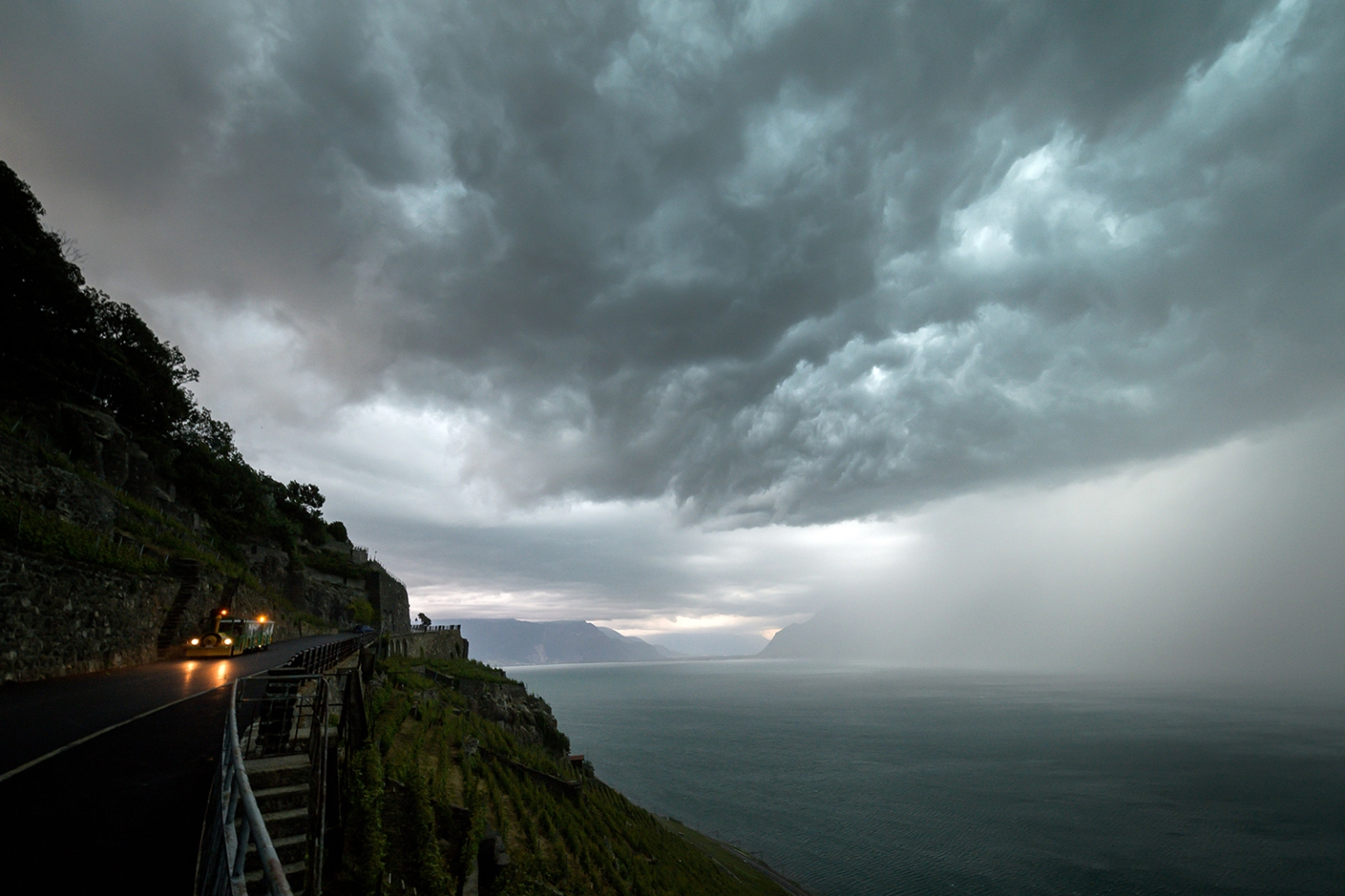Storm clouds cover Lake Geneva, above Chexbres, western Switzerland, on June 15. FABRICE COFFRINI/AFP/Getty Images