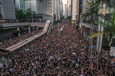 Protesters demonstrate against the now-suspended extradition bill on June 16 in Hong Kong.