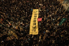 Protesters march against the now-suspended China Extradition Law on June 16 in Hong Kong.