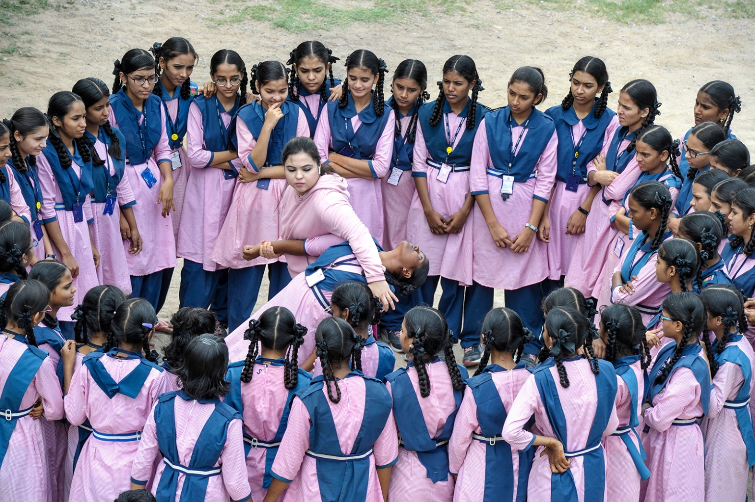 Indian Muslim international karate champion, Syeda Falak shows self-defense techniques to students at the Telangana Minorities Residential Girls School in Hyderabad on June 17. NOAH SEELAM/AFP/Getty Images