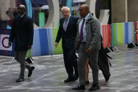 Boris Johnson arrives for the Conservative Leadership televised debate in London on June 18.
