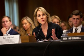 Kelly Knight Craft, U.S. President Donald Trump's nominee to be ambassador to the United Nations, testifies at her nomination hearing before the Senate Foreign Relations Committee in Washington on June 19.