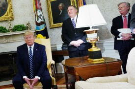 U.S. President Donald Trump (from left), Secretary of State Mike Pompeo, and National Security Advisor John Bolton attend a bilateral meeting with Canadian Prime Minister Justin Trudeau at the White House on June 20.