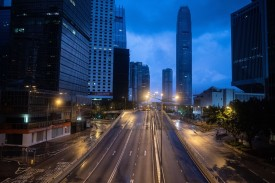 A general view shows Harcourt Road after it was cleared in Hong Kong early on June 22 after protests on June 21.