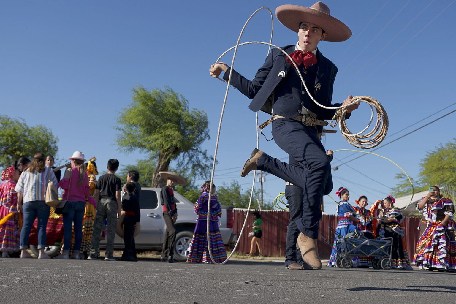 Ballet Folklorico dancers prepare to march in a homecoming parade for heavyweight boxing champion Andy Ruiz Jr. in Imperial, California, on June 22 in Imperial, California. SANDY HUFFAKER/AFP/Getty Images