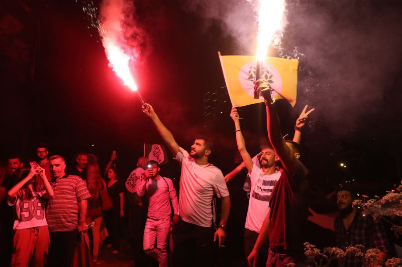 People celebrate in Istanbul after Republican People's Party candidate Ekrem Imamoglu won the city's rerun mayoral elections on June 23.