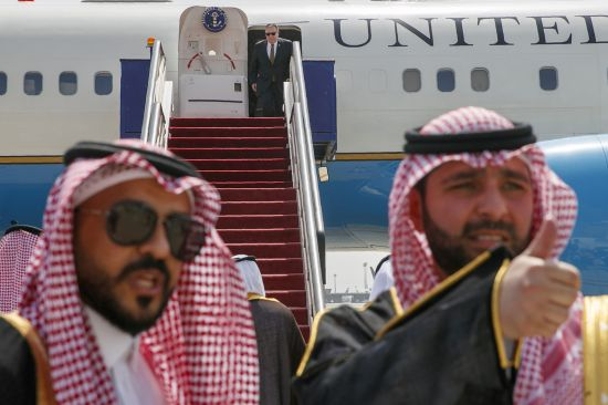 U.S. Secretary of State Mike Pompeo exits a plane upon his arrival in Jeddah, Saudi Arabia, on June 24. JACQUELYN MARTIN/AFP/Getty Images