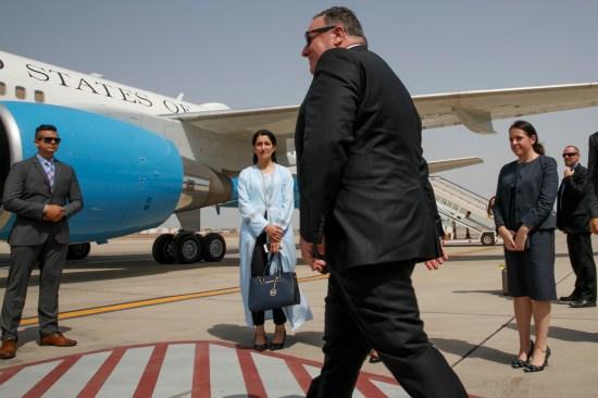 U.S. Secretary of State Mike Pompeo walks toward a plane to depart Jeddah, Saudi Arabia, en route to Abu Dhabi, United Arab Emirates, on June 24.