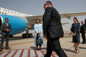 U.S. Secretary of State Mike Pompeo walks toward a plane to depart Jeddah, Saudi Arabia, on June 24.