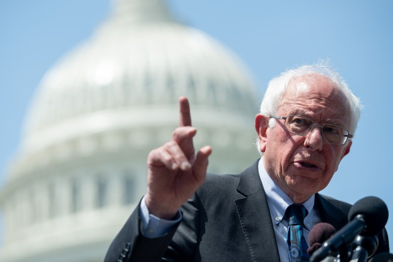 U.S. Sen. Bernie Sanders speaks at a press conference in Washington on June 24.