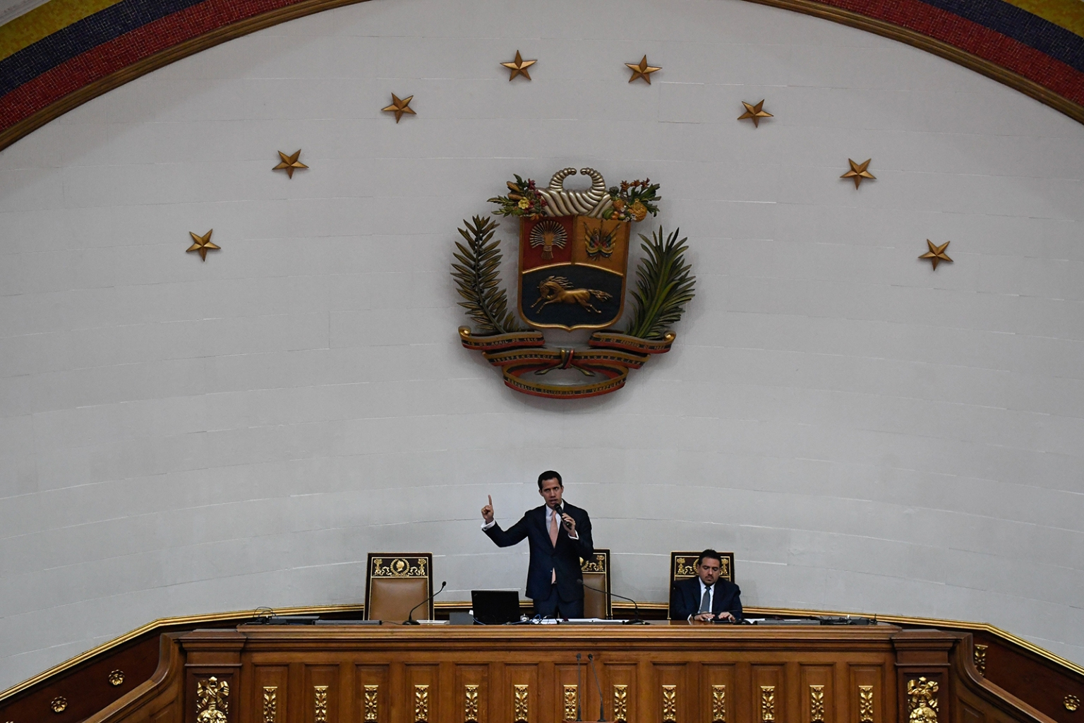 Venezuelan opposition leader and self-proclaimed interim president Juan Guaido speaks during a session of the National Assembly in Caracas on June 25. FEDERICO PARRA/AFP/Getty Images