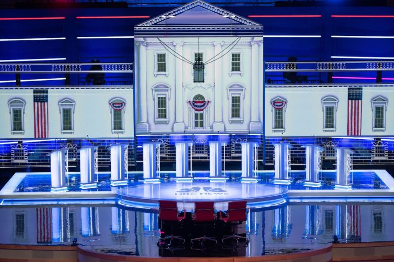 The stage for the first U.S. Democratic primary debate of the 2020 presidential campaign season at the Adrienne Arsht Center for the Performing Arts in Miami, Florida, on June 26,
