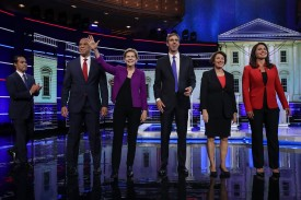 Members of the first group of 10 Democratic presidential candidates take the stage for the first debate of the 2020 campaign in Miami-Dade County, Florida, on June 26.