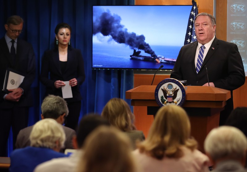U.S. Secretary of State Mike Pompeo speaks from the State Department briefing room in Washington on June 13.