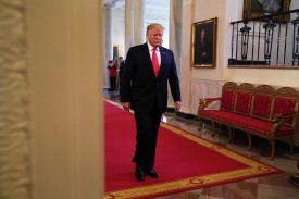 "U.S. President Donald Trump arrives at an East Room event on ""second chance hiring"" June 13, 2019 at the White House in Washington, DC."